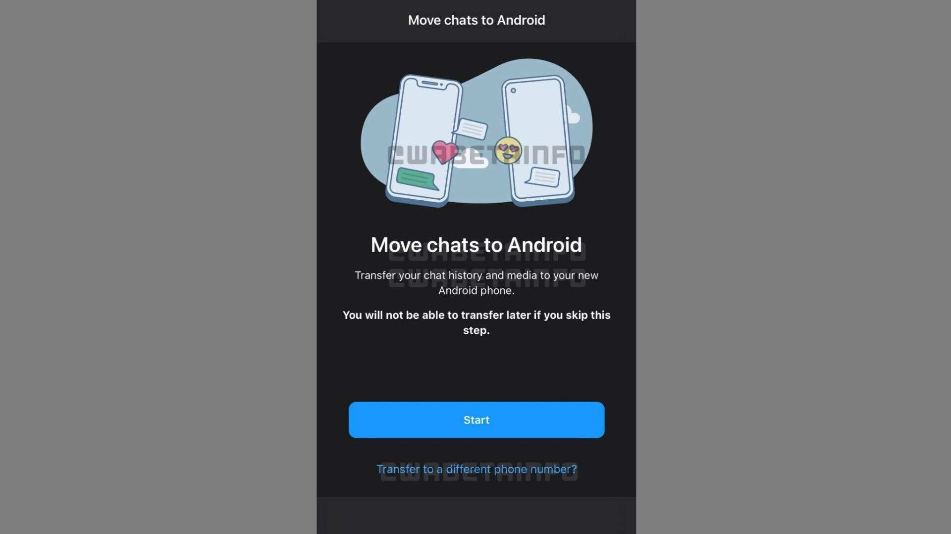 WhatsApp cambio numero Beta