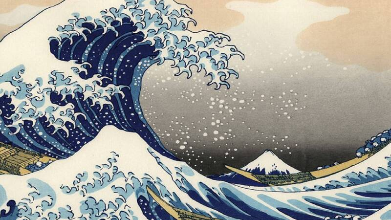 Ukiyo-e by master Hokusai becomes a scratching post for cats