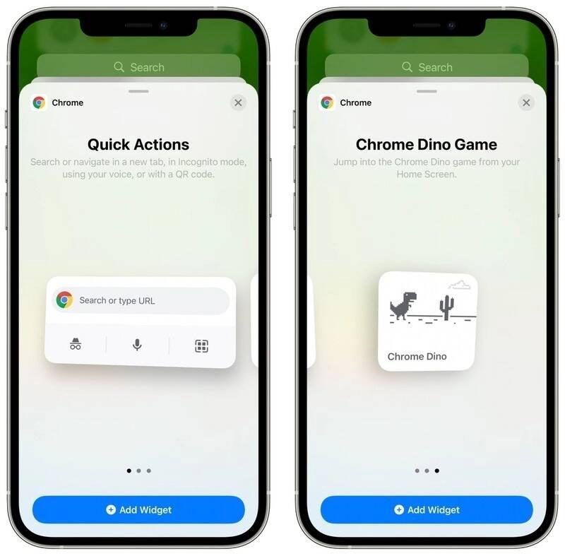 Google Chrome mobile widget