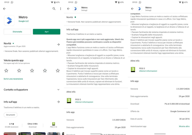 Google Metro rimossa Play Store