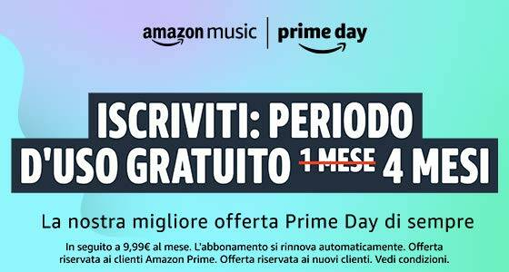 music unlimited 4 mesi prime day