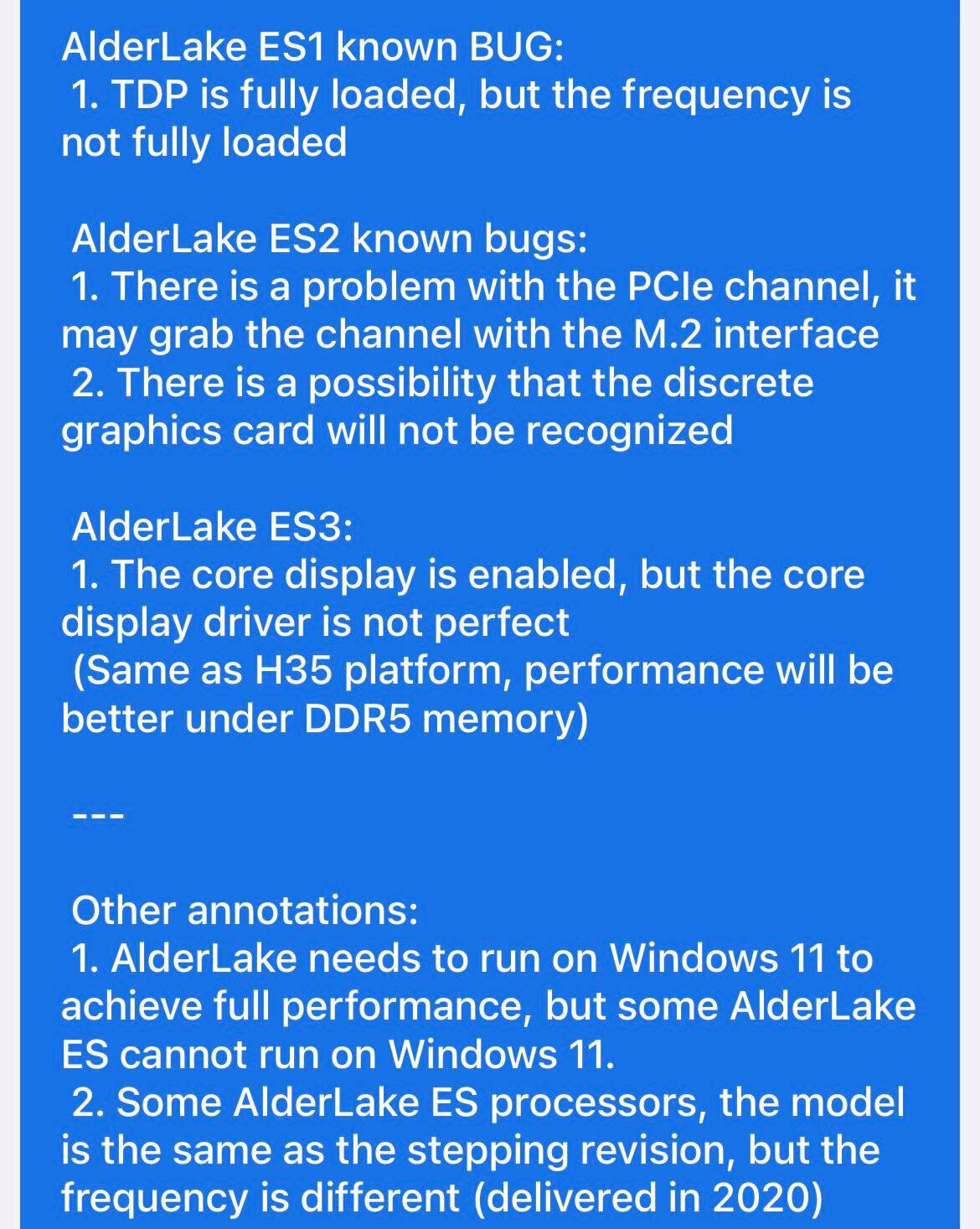 Intel Alder Lake mobile leak