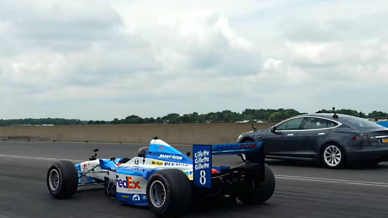 Tesla Model S challenges a 90's single-seater