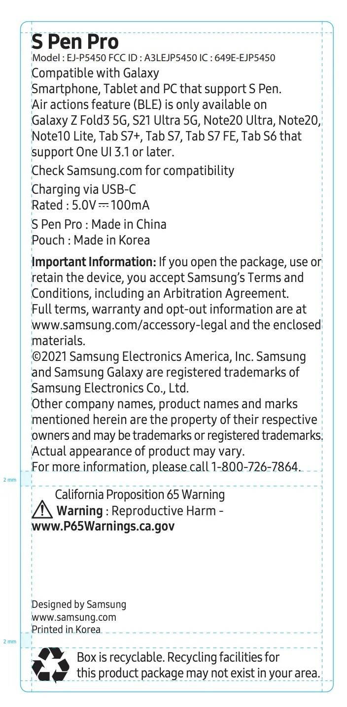Samsung S Pen Pro FCC