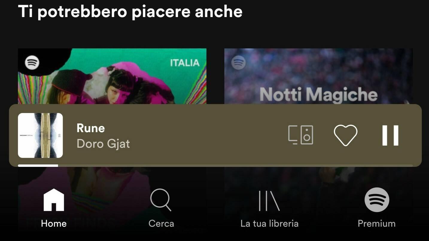 Spotify nuovo mini player