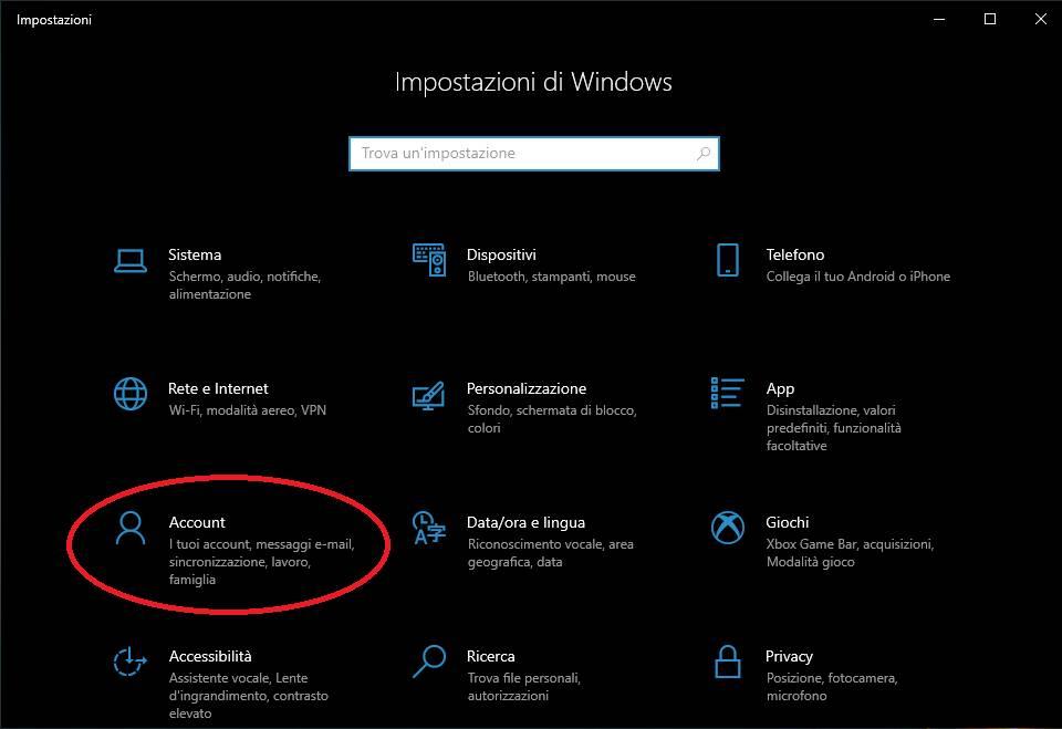 Cambio account Windows - metodo impostazioni