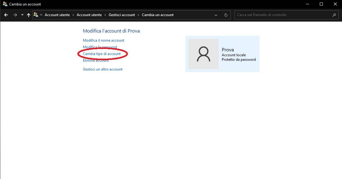 Modifica tipologia account Windows - pannello di controllo