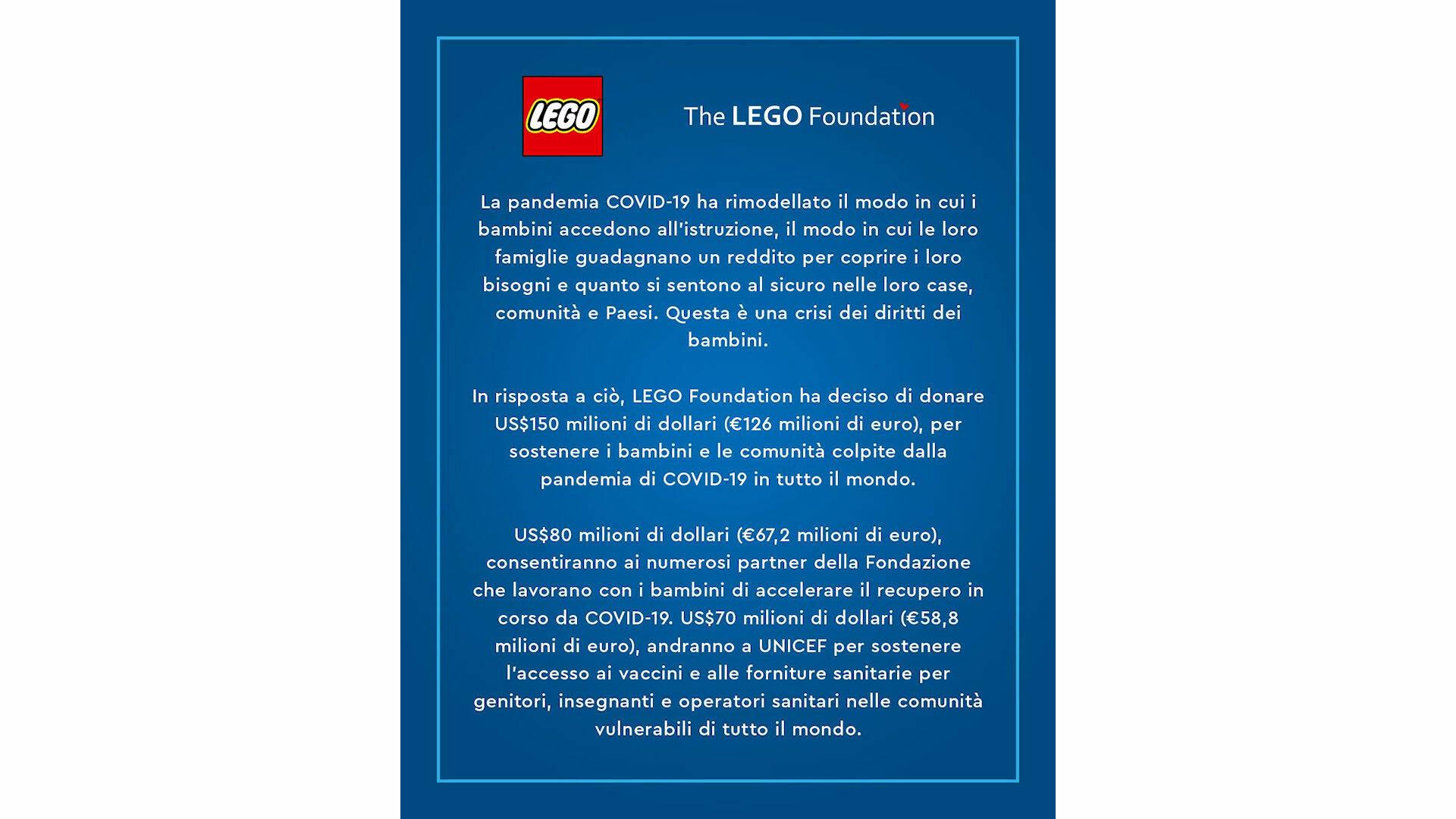 LEGO FOUNDATION DONAZIONE COVID