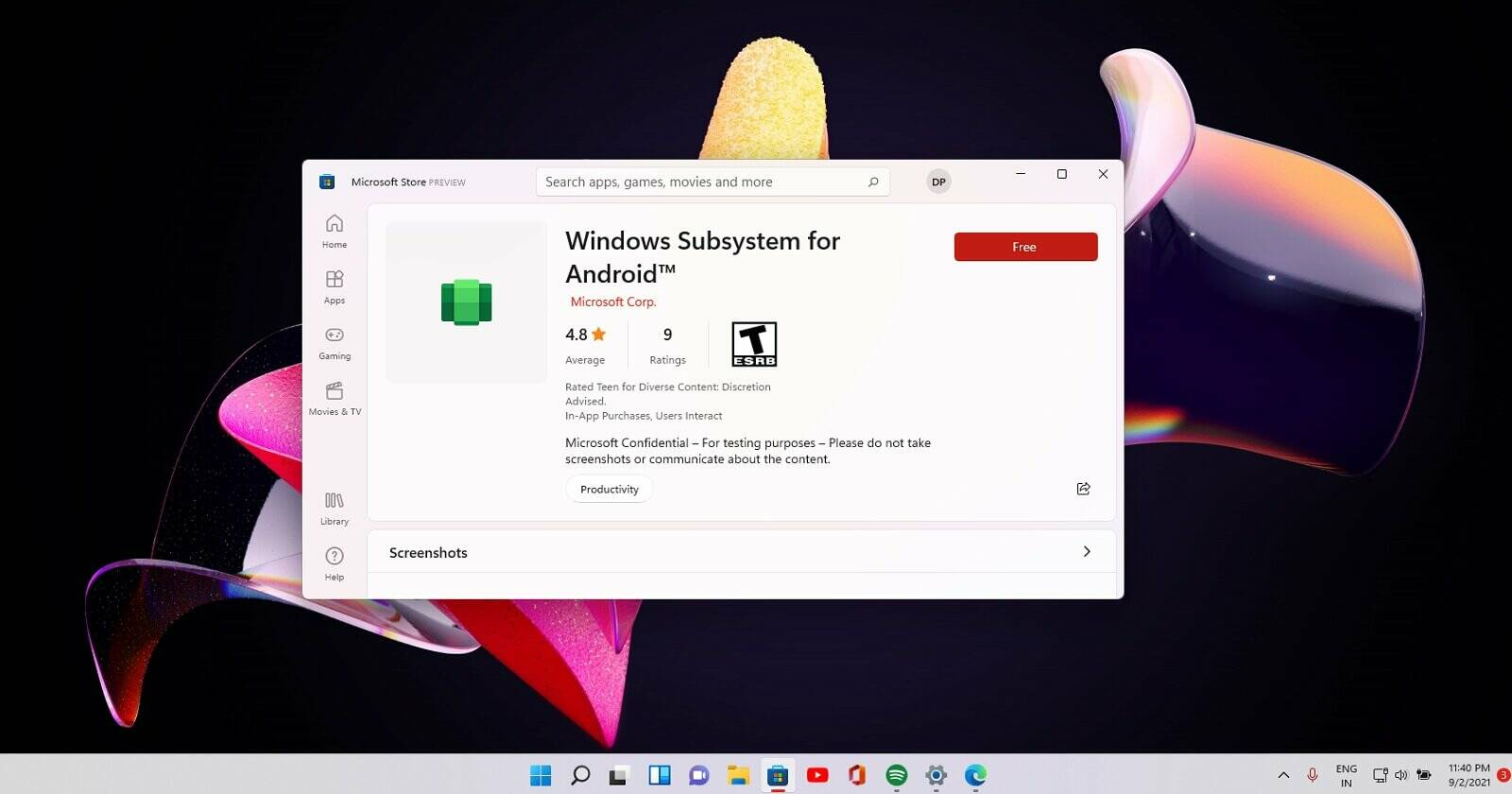 Windows 11 Android Subsystem Microsoft Store