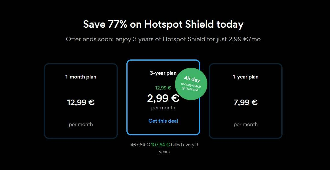 Hotspot Shield - Piani e prezzi