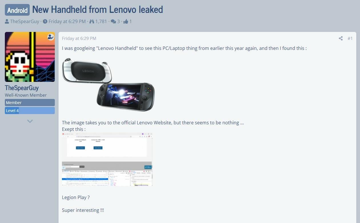 Lenovo Legion Play leak