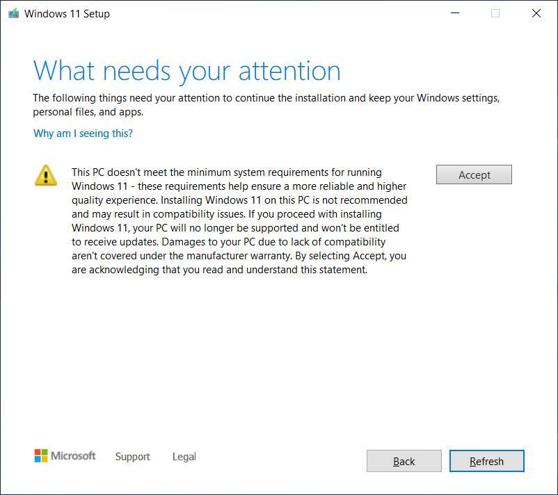 Windows 11 avviso aggiornamento